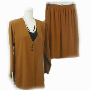 Tunic Skirt Set Brown Black Buttons Vent 90s